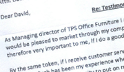 Testimonial from TPS Office Furniture Ltd for JE Sills & Sons Ltd of Lincoln